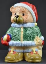 "Garden Ridge Santa's Helper Ceremic Teddy Bear Cookie Jar - 10"" Tall"