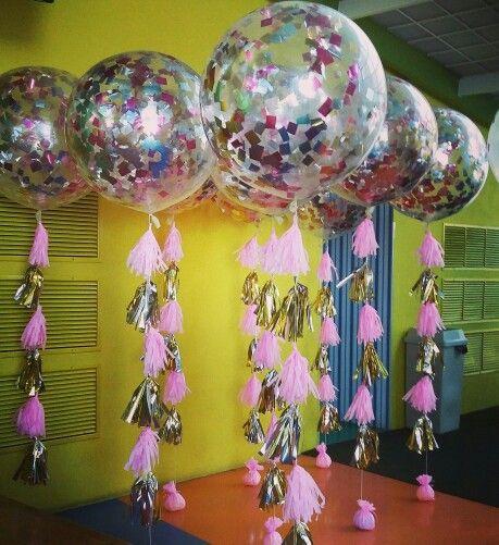 Globos jumbo transparente con decoraci n en rosa y dorado for Decoracion de cumpleanos rosa y dorado