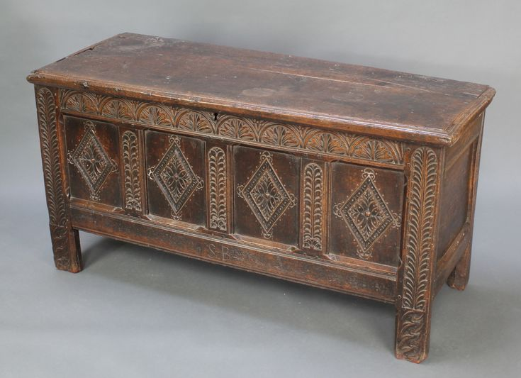 """Lot 866, A 17th/18th Century coffer of panelled construction with hinged lid, fitted a candle box, 29 1/2""""h x  57 1/2""""w x 23""""d, est £200-250"""