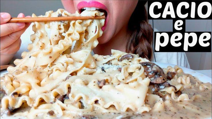 *No Talking* ASMR Cacio e pepe Mafaldine PASTA (+recipe) 먹방 Eating Sounds