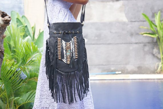 Tassel Leather Bag Boho Purse Leather Shoulder by BramsKaraDesign