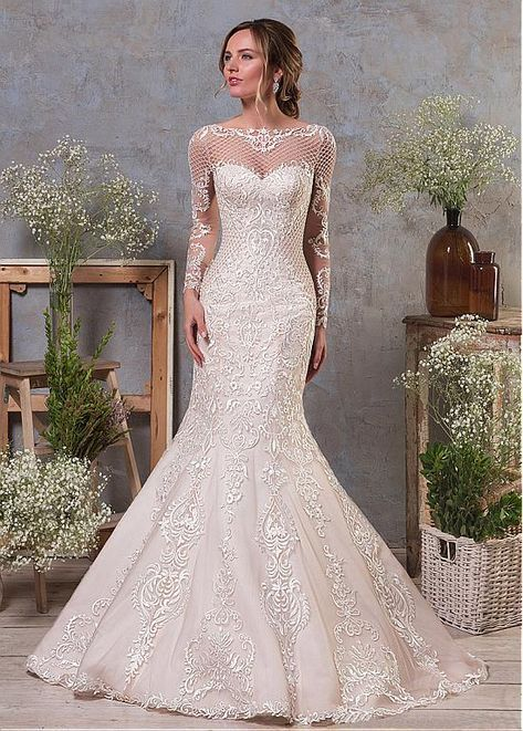 [232.00] Elegant Tulle & Organza Bateau Neckline Natural Waistline 2 In 1 Wedding Dress With Lace Appliques & Beadings & Detachable Skirt
