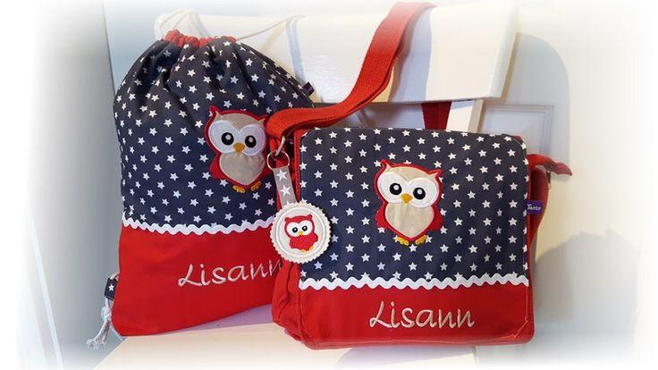 Kindergartentaschen - KOMBI Kindergartentasche & Turnbeutel EULE ... - ein Designerstück von Tante-Ninna bei DaWanda