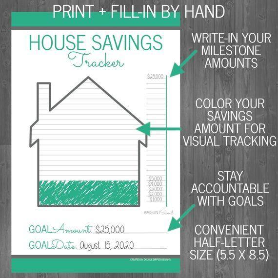 Printable Down Payment Financial Savings Planner Save For House Savings Tracker House Down Payment