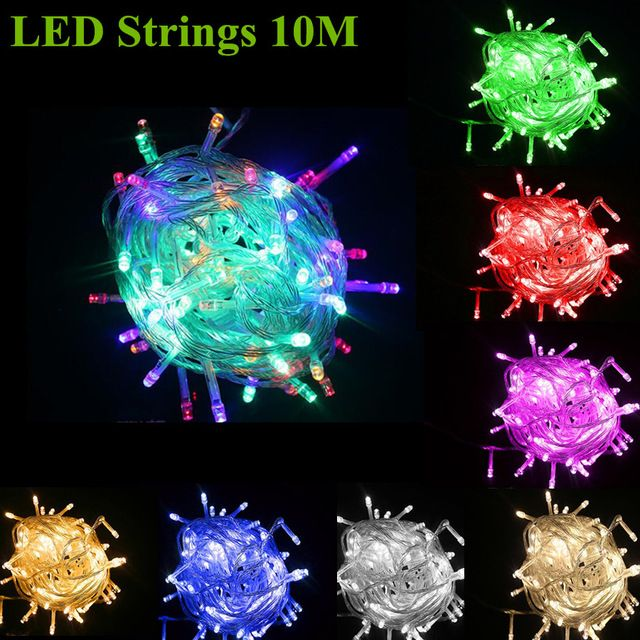 LED Christmas Lights 20m/200led 10M/100led 9color US/EU AC110/220V Led String Light Wedding Party Decoration Lights Outdoor