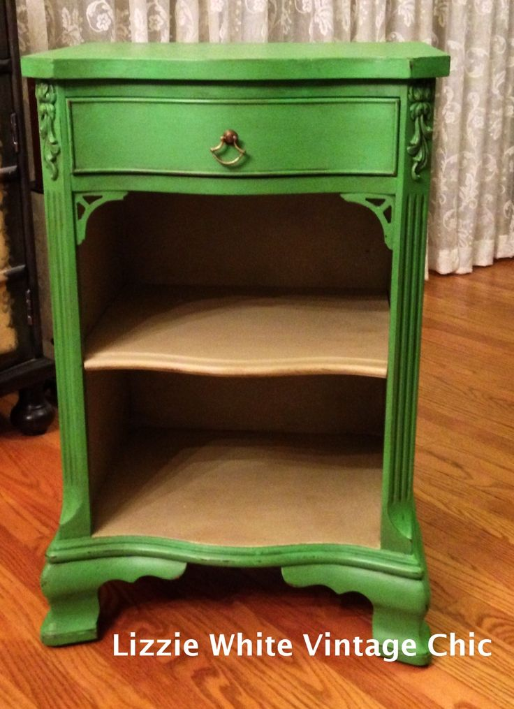 Vintage Nightstand Repainted With Annie Sloan Chalk Paint, Antibes Green