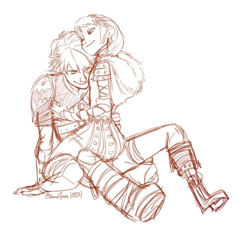 Hiccstrid hug by emma-monsta.tumblr.com