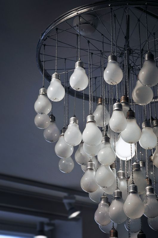 A Chandelier made of light bulbs. Suspension lighting is the perfect contemporary lighting option for every kind of house/apartment/hotel/restaurant/bar and to every corner of it. Bedrooms, bathrooms, living rooms and dining rooms should be enhanced with beautiful and modern chandeliers. See more home design ideas, here: http://www.pinterest.com/homedsgnideas/
