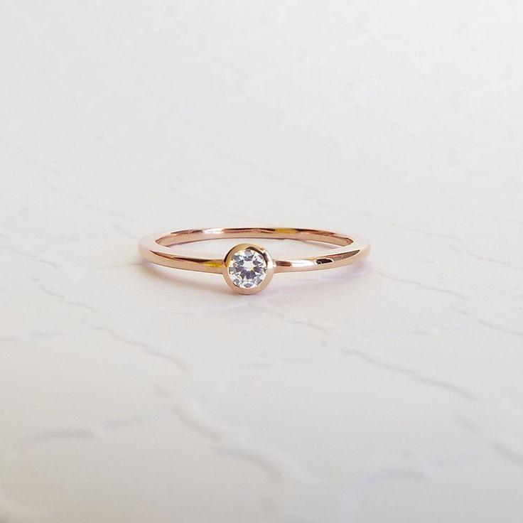 CZ Bezel Engagement Ring 14k Rose Gold Promise ring White gold simple diamond bezel ring by LasyaJewelry on Etsy