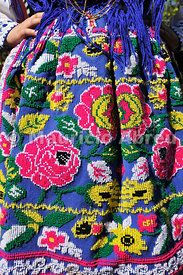 Colourful hand embroidered traditional folk skirt #Portugal
