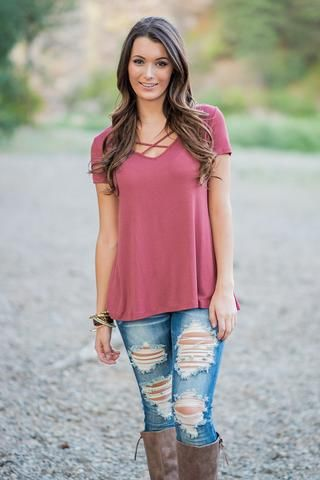 Pull Me Closer Criss Cross Top (Marsala) - NanaMacs.com - 1