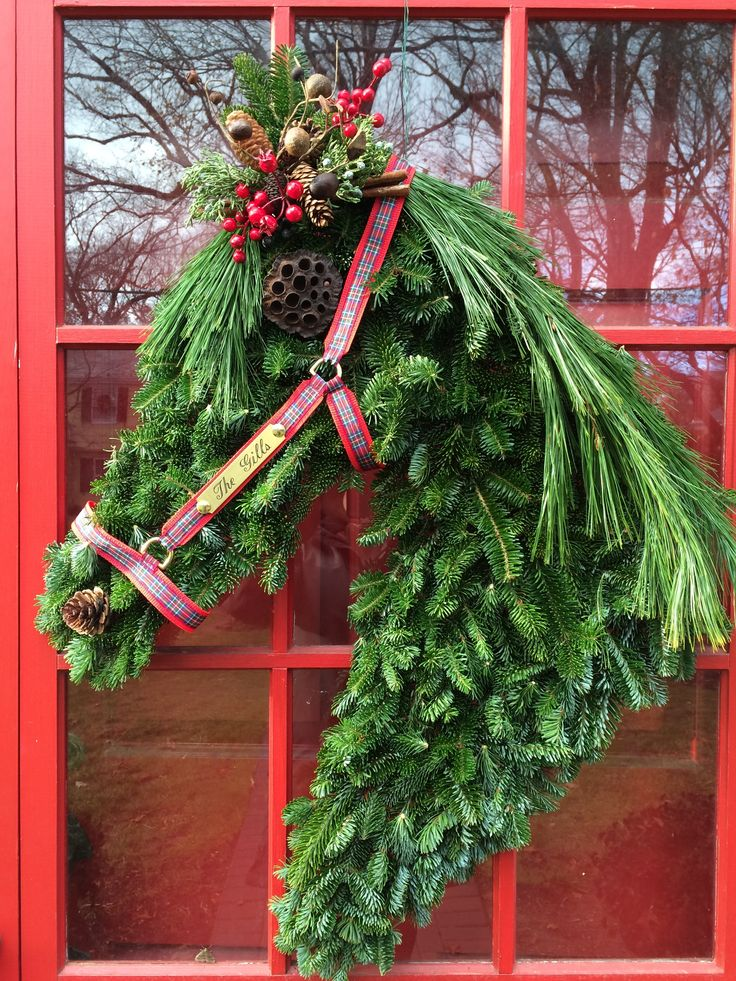 This year I perfected my horse head wreaths.  For a kit with all the supplies you need to duplicate my wreath visit https://www.etsy.com/listing/498263507/horse-head-wreath-kit?ref=shop_home_active_1 For instructions on how to make your own, visit my blog at http://rantingsofahorsemom.blogspot.com/2015/12/holiday-wreath-how-to-make-horse-head.html or email me at horseheadwreath@gmail.com