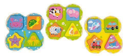 Pack 3 Encajes Andreu Toys de madera: Animales de granja, Marino y Vehículos. Para niños de a partir de 1 año, ¡genial para estimular la coordinación ojo-mano y la imaginación! El pack incuye los 3 modelos. Ilustraciones: vaca, cerdo, oveja, gallina, cangrejo, tortuga, estrella de mar, pulpo, avión, coche, tren y barco. ¡Educativo y divertido!