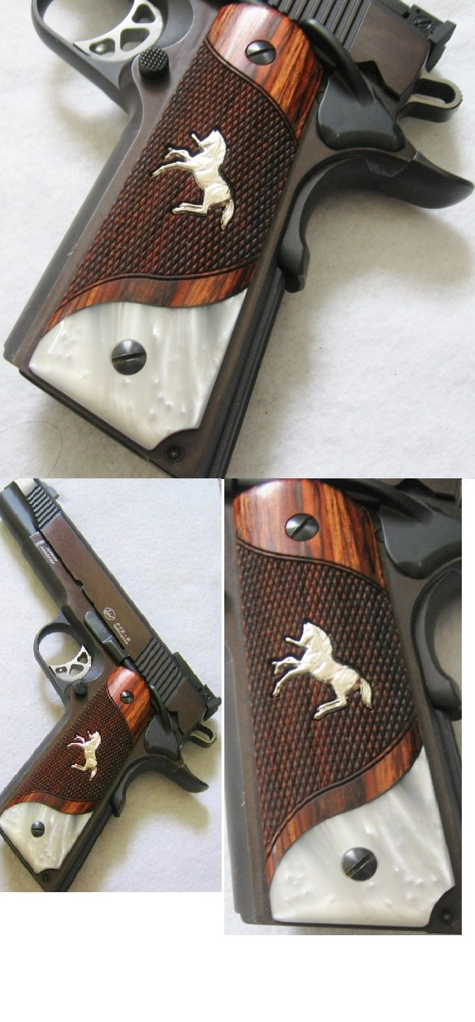 ON SALE IN OUR STORE! COLT 1911 SILVER RAMPANT PONY GRIPS Mother of Pearl Inlay Custom. PLEASE SEE IN OUR STORE!  http://www.ebay.com/usr/gce-sports
