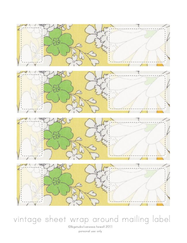 freebie printable wrap around mailing labels created with vintage sheet fabric :)