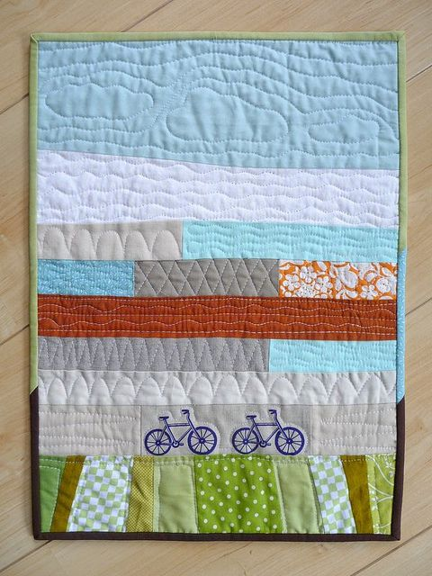 I love this quilt!: Scrap Quilts, Bike Riding, Minis Quilts, Landscape Quilts, Minis Cooper, Bicycles Quilts, Bike Quilts, Quilts Ideas, Boys Quilts
