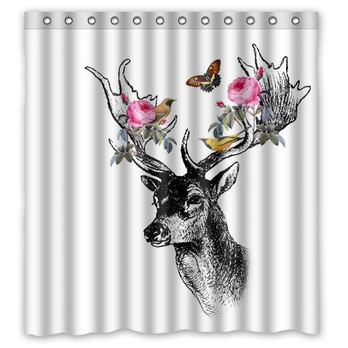 Floral Forrest Deer with Birds Shower Curtain by TheRekindledPage