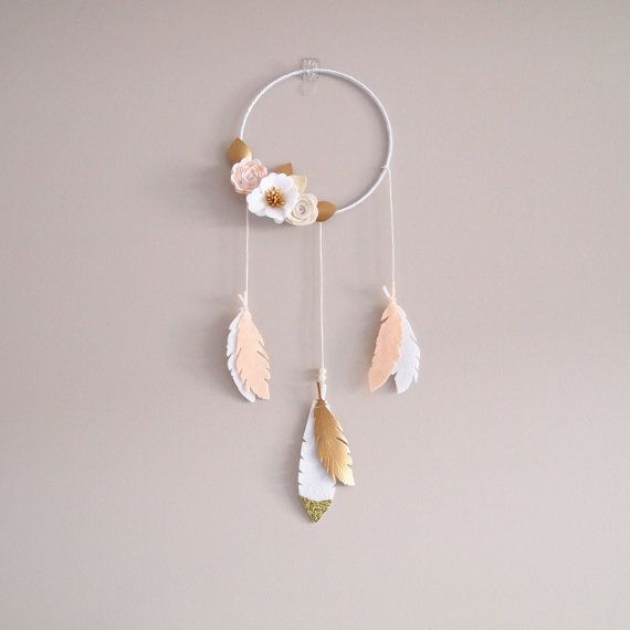 Kirei Dreamer/ felt feathers and flowers dream catcher/ neutral colours/ made to order