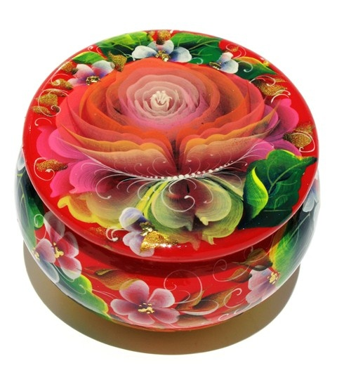 Flower Small Round Souvenir Box in Red