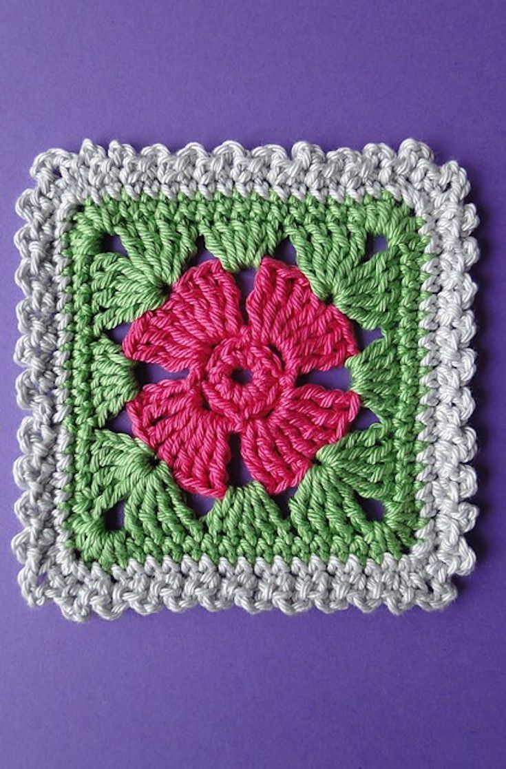 2814 Best Motifler Images On Pinterest Crochet Chart Tm Diagram Ideas And Tips Juxtapost Free Pattern Adorable Four Petal Flower Square With Three Edgings A Granny