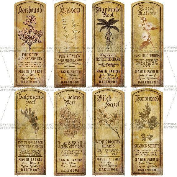 Set Of 8 Miniature Magic Properties Labels (Set 5)