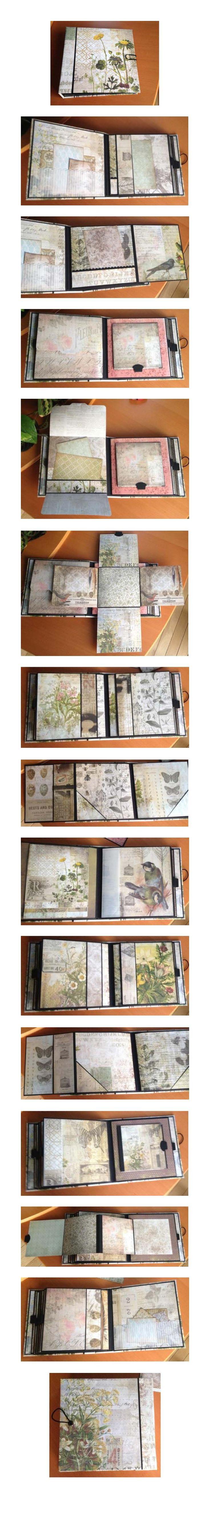 8x8 mini album using Tim Holtz Wallflower papers