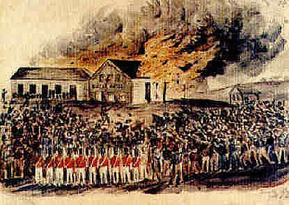 Eureka Flag - Australia The Eureka Hotel, torched by a mob on the 17th October , 1854. Many historians believe this was the catalyst for the Eureka Rebellion
