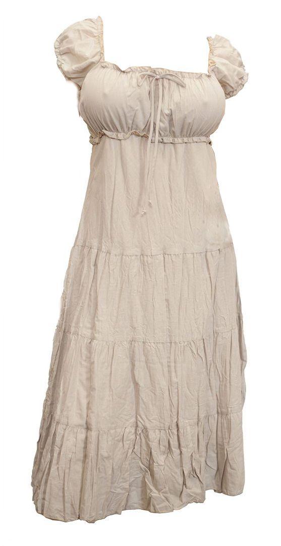 Plus Size Sundresses for the Beach | Light Brown Cotton Empire Waist Plus Size SunDress Photo 1