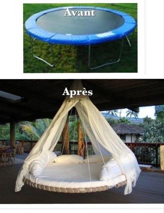 Chambre d'ado : balançoire ronde faite avec son vieux trampoline d'enfant - à décliner avec la balançoire ronde d'IKEA