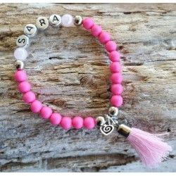 011KA rose naam armband met flosje