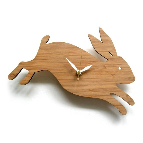 Modern Baby Clock - Rabbit Clock on Etsy, $58.00
