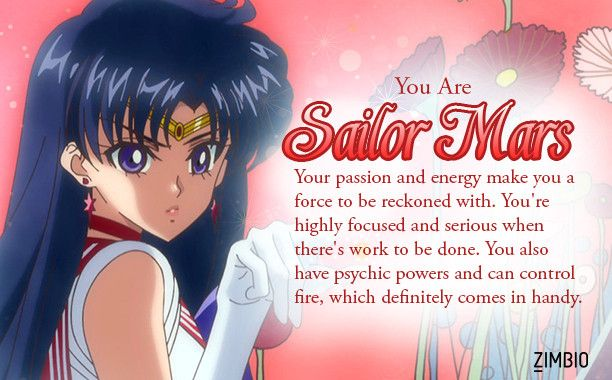 I took Zimbio's 'Sailor Moon' quiz and I'm Sailor Mars . And you? null - Quiz