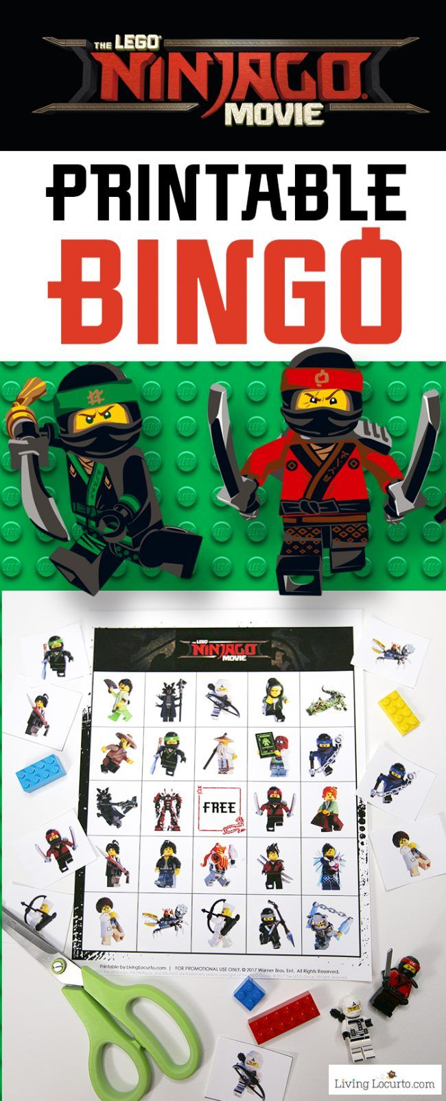 LEGO NINJAGO Movie Bingo free printable game. Fun kids activity for a birthday party or family game night! LEGO Bingo to celebrate The LEGO NINJAGO Movie in theaters September 22. Download this Printable LEGO Bingo Game for kid fun. #LEGONINJAGOMovie #sponsored