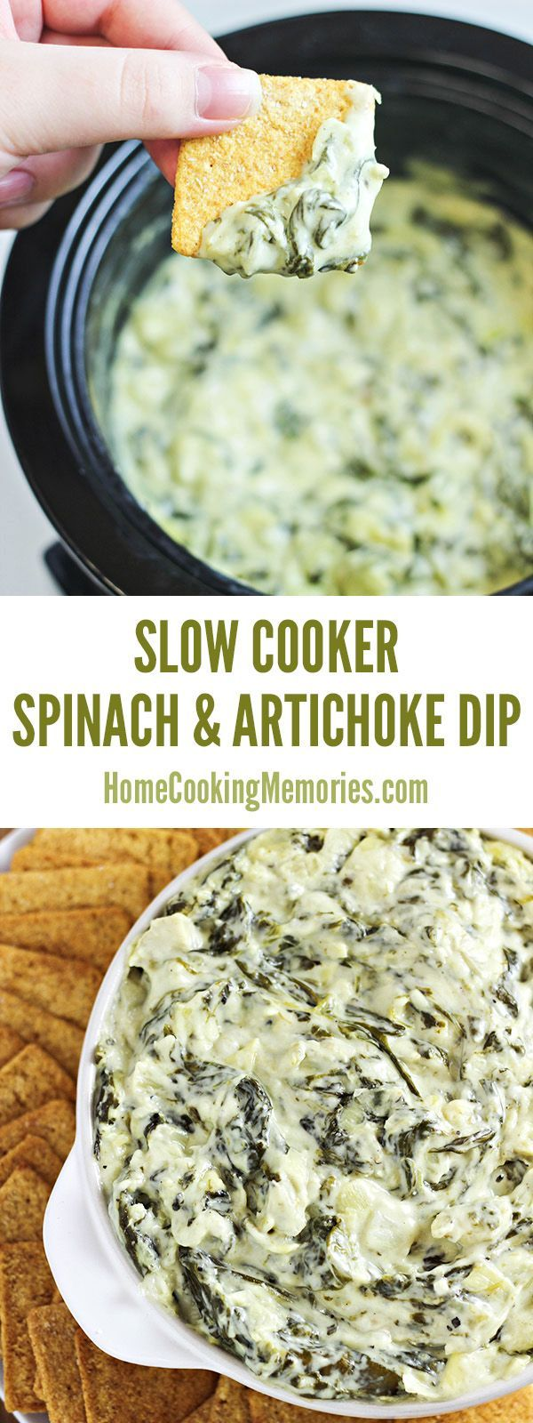 This delicious Slow Cooker Spinach and Artichoke Dip recipe is easy and cheesy! A hot dip, but doesn't have to be cooked in the oven. Great for potlucks!