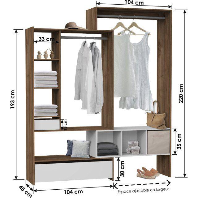 Kit Dressing Effet Noyer Twist H 220 X L 104 A 204 X P 45 Cm Rangement Dressing Dressing Et Dressing Moderne