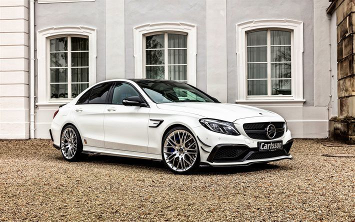 Scarica sfondi Mercedes-Benz C-Class, 2016, W205, Carlsson, bianco mercedes, tuning, berlina