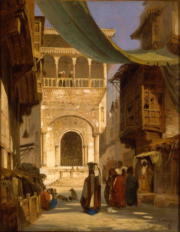 """""""Strada principale del Cairo""""  by Ippolito Caffi  (1844)"""
