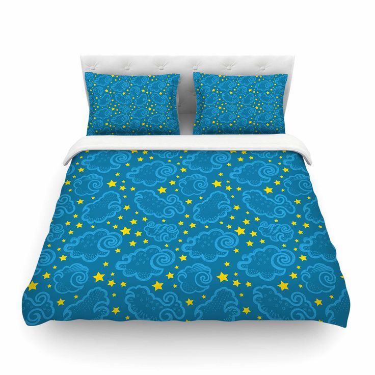 """Yenty Jap """"Starry And Cloudy Night"""" Blue Yellow Cotton Duvet Cover from KESS InHouse"""
