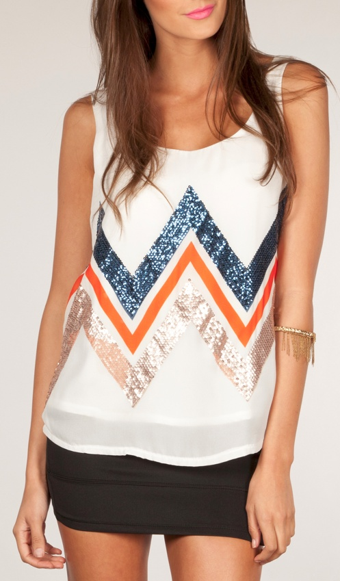 Sparkle Chevron Tank...LOVE everything about this top!! Would love this in my next Stitch Fix!