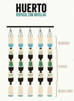 Huerto vertical para las ventanas con botellas desechables