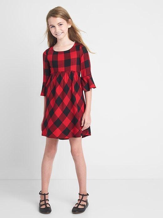 Gap Girls Plaid Bell-Sleeve Dress Red Plaid