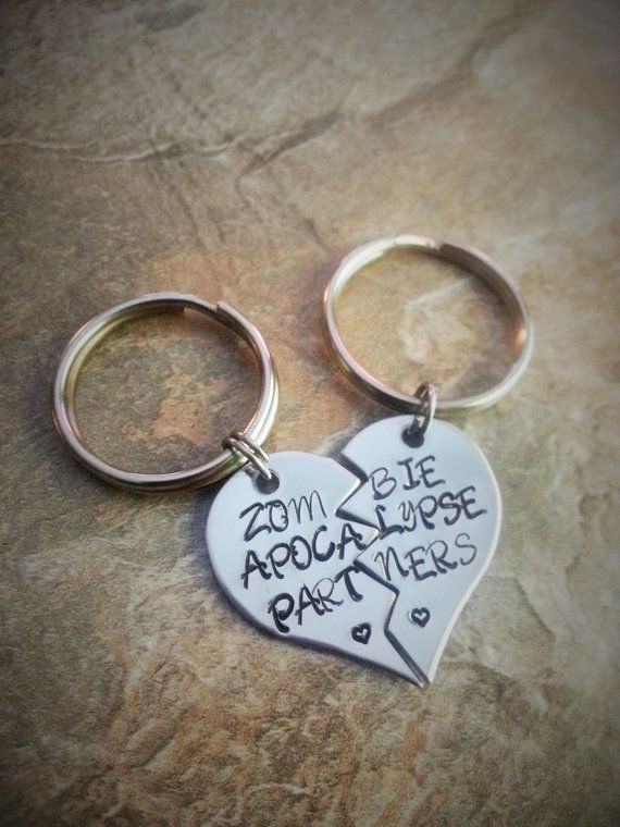 "Want!!!   Best Friend/Couples Hand Stamped Keychain Set - ""Zombie Apocalypse Partners"" - The Walking Dead"
