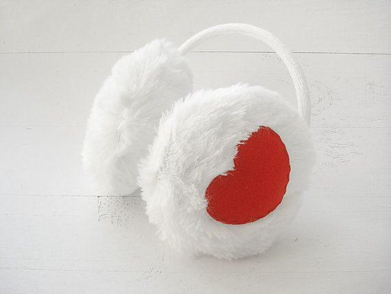 VALENTINES DAY GIFT, Heart Earmuffs, Ear Warmer, Faux Fur, Heart, Special Gift, Gift For Her, Gift For Girlfriend, Valentine Gift Idea, Love