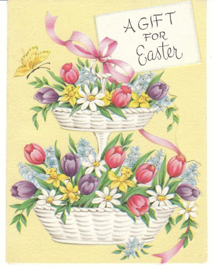 153 best vintage easter images on pinterest vintage easter mid century vintage easter card basket with two tiers negle Choice Image