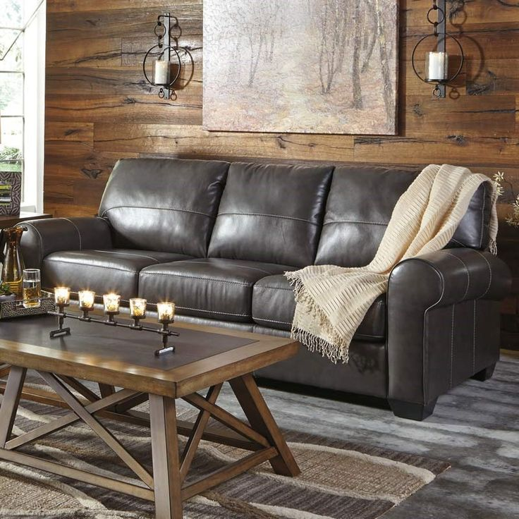 Ashley Canterelli Gray Leather Sofa | Weekends Only Furniture and Mattress