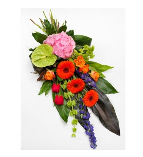 A simply stunning, vibrant hand tied sheaf. Orange and cerise Roses, purple Aconitum, pink Hydrangea, green Anthurium and orange Gerbera perfectly mixed with Molucella, red Cordyline, Aspidistra and Aralia leaves, Cocculus and red Dracaena.