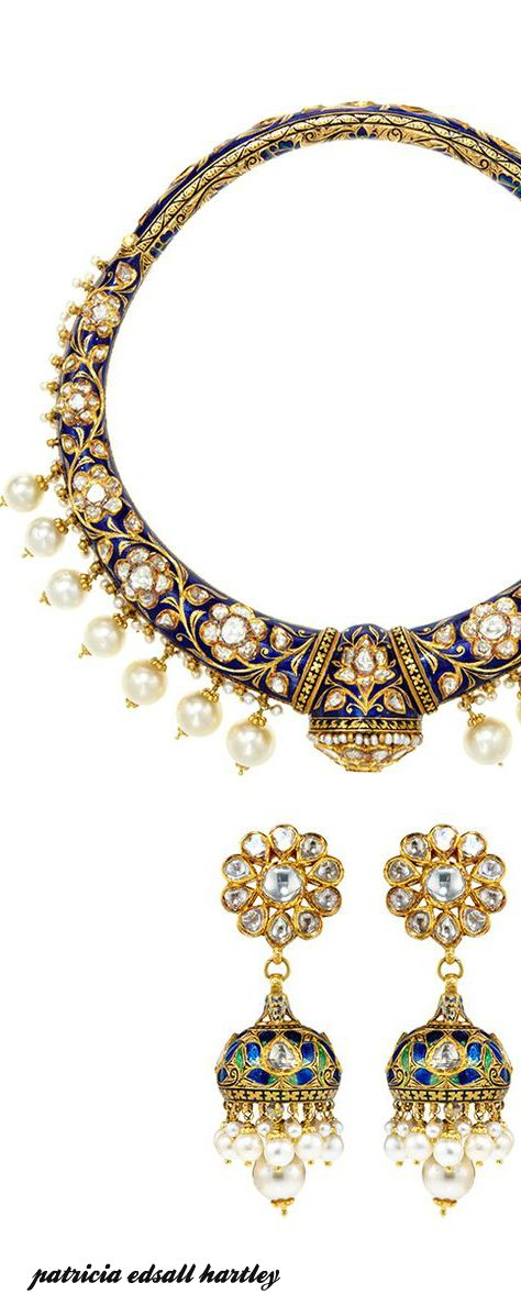 Diamond, Blue Sapphire and Pearl Earring and Necklace Set by Amrapali