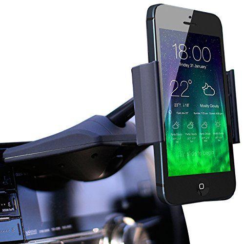 Koomus CD-Air CD Slot Mount Universal CD Slot Smartphone Car Mount Holder Cradle for iPhone 6 6+ 5S, 5C, 5, 4S, 4, iPod touch, Samsung Galaxy S5, S4, S3, Note 2, Note 3, Nexus S, Motorola Droid Razr HD, Maxx, Nokia Lumia 920, LG Optimus G, HTC One X, S, M7