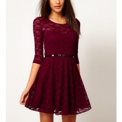 Half Sleeve Casual Lace Dress | Sleeve, V neck dress and Auburn colors
