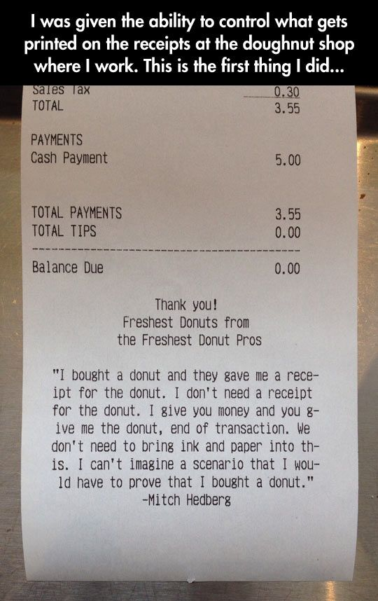 A Receipt For The Donut